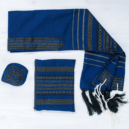 Hagar - Wool Tallit - Blue with Black and Gold Design
