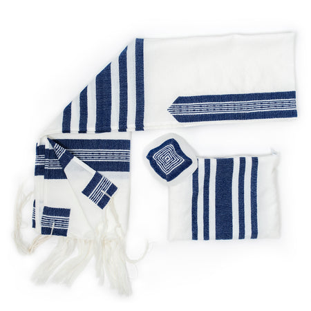 David - Wool Tallit - Wide Blue stripes with Silver on White