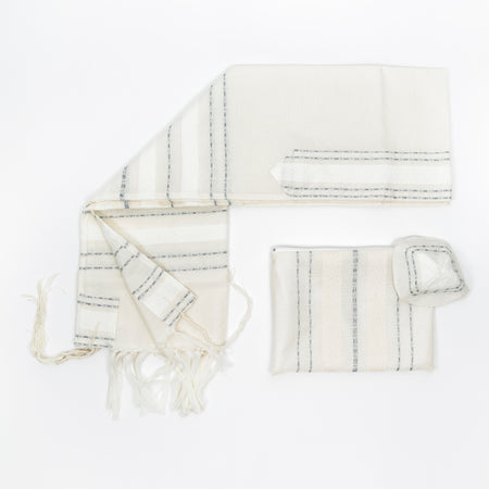 Perach - Wool Tallit - Silver Stripes on Off-White