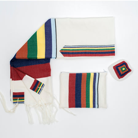 Esther - Wool Tallit - Rainbow Stripes on White