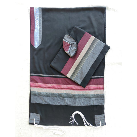 NEW - Elegant Gabrieli tallit - Red on Black