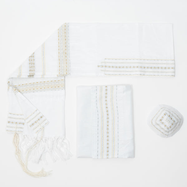 Elia - Silk Tallit - Gold and Silver on White
