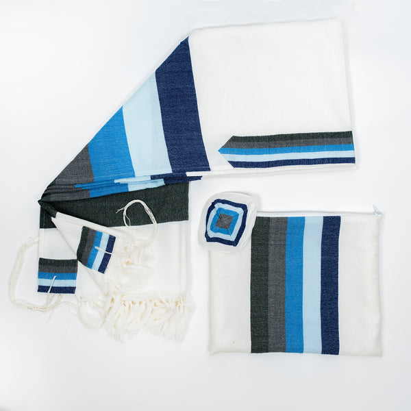 Emanuel - Wool Tallit - Wide Stripes in shades of Blue on White
