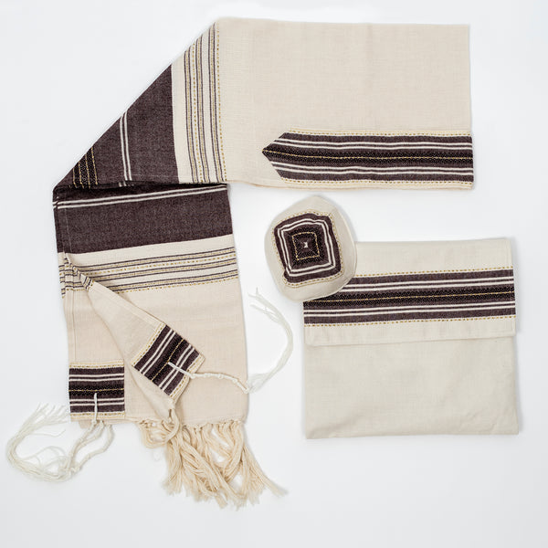 Elia - Cotton Tallit - Bordeaux with Gold on Off-White