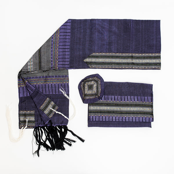 Elia - Silk Tallit- Gray with Gold on Purple
