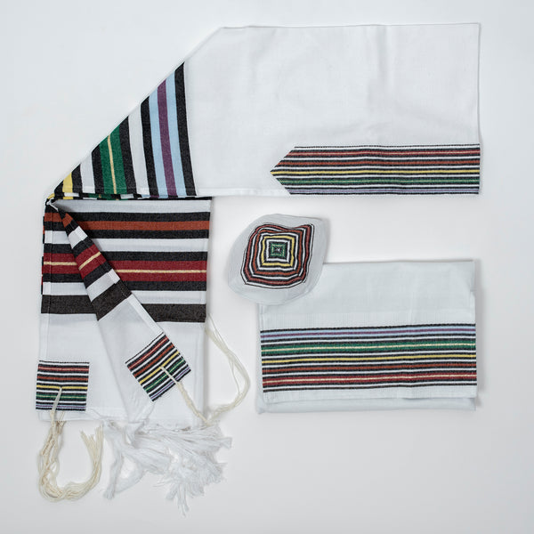 Purim - Cotton Tallit - White Background