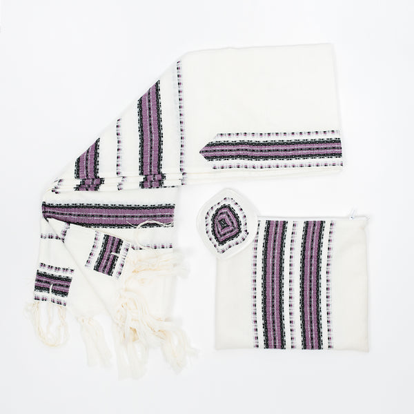 Ruth - Wool Tallit - Purple and Black with Silver on White