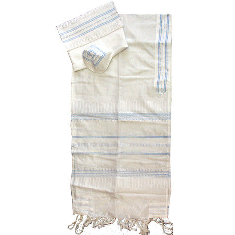 Gabrieli Silk Tallit - Light Blue on White