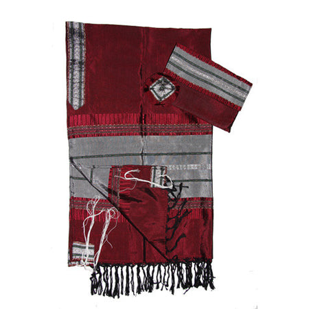 Elia - Silk Tallit - Gray with Silver on Red