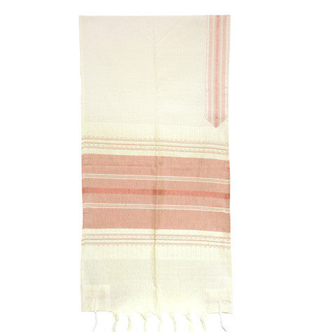 Cotton Gabrieli Tallit - Red on Cream