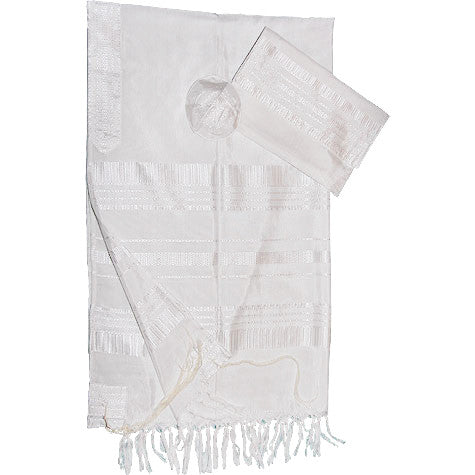 Gabrieli Silk tallit- White on White