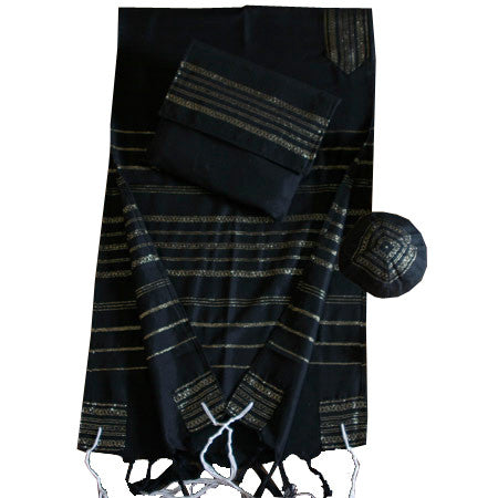 Gabrieli Silk Tallit- Black with Gold Trim