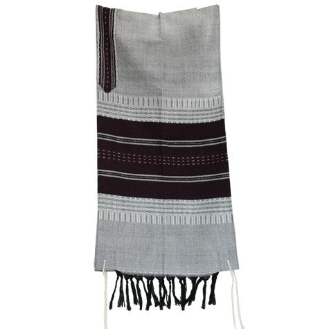 Wool Tallit - Gray with Dark Purple