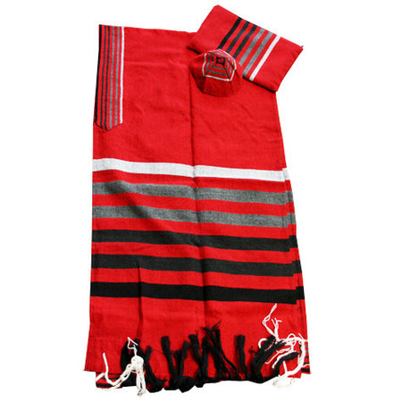 Gad - Wool Tallit - Grays on Red