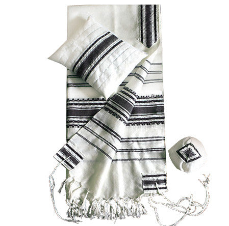 Wool Tallit - White with Black Stripes & Silver