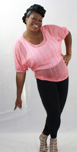Peach Lightweight Knit/ Mesh Top