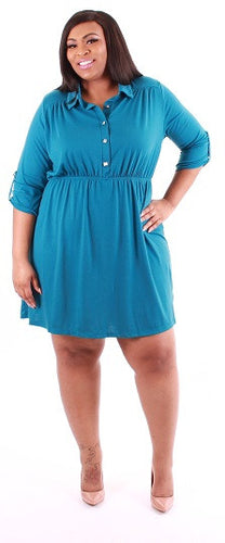 3/4 Collared Button Square Dress