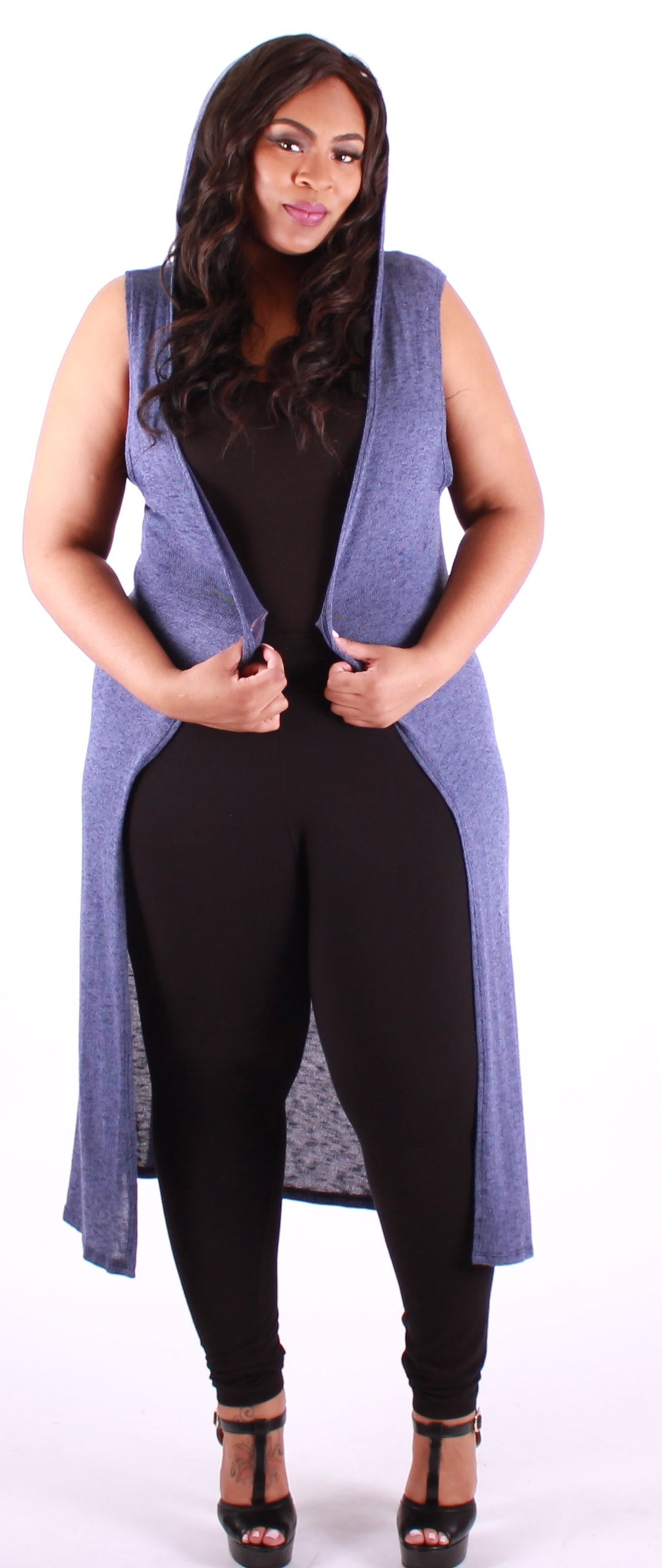 Long Blue Sweater Sleeveless Hoodie