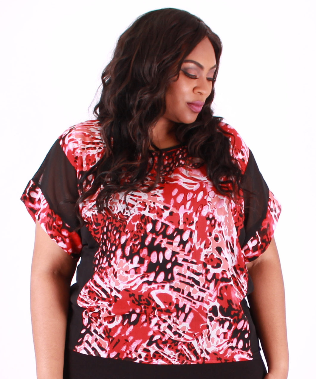 Red Jungle Top with Asymetercal Hem