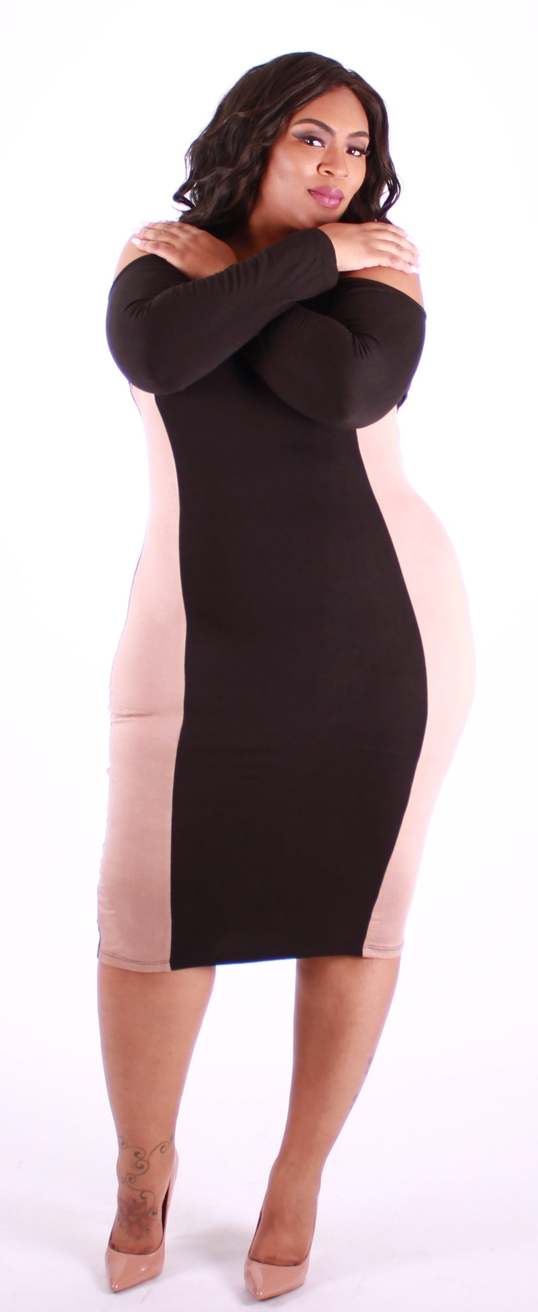 Black And Tan Blocked Fitted Dress