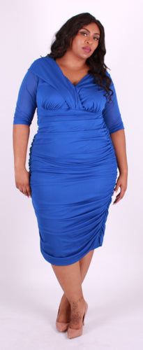 Blue Ruched Layered Wrap Dress