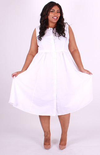 White Sleeveless Button Down Dress