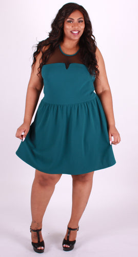 3/4 Teal and Mesh Dress