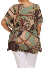 Wide Sleeve Tan Abstract Top