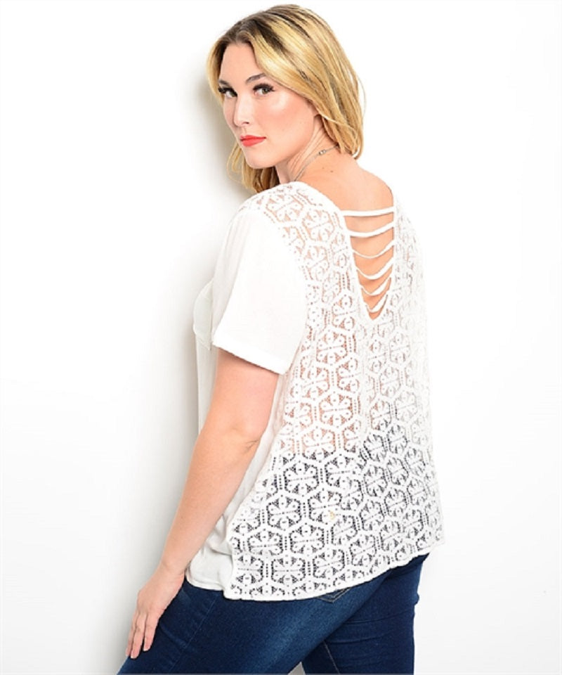 COC White lacy back Top With Pocket