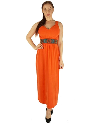 Orange Super  Long Maxi Dress