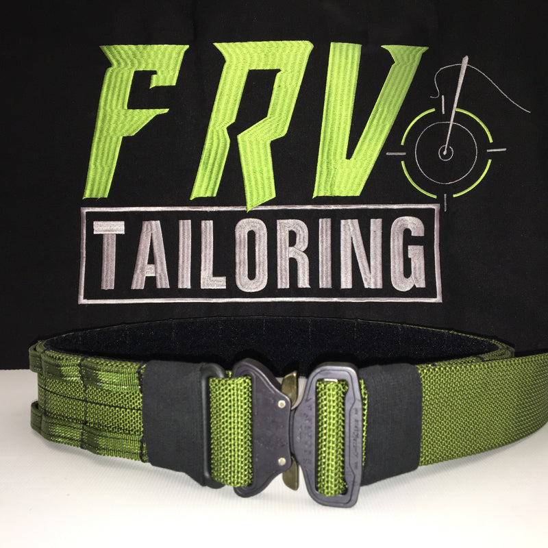FRV tailoring green shooters belt with a D ring.