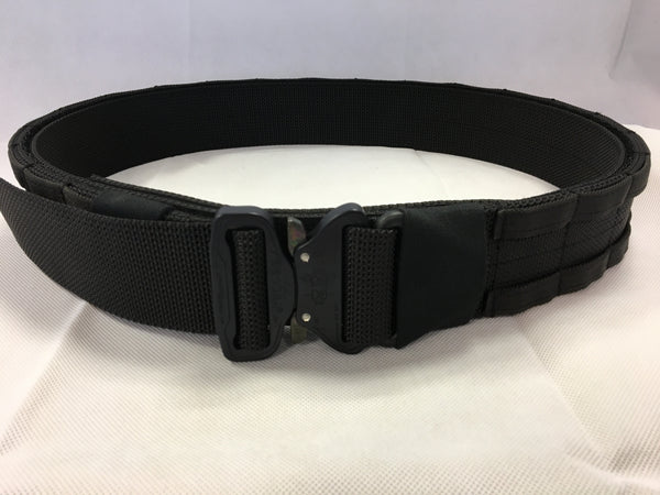 FRV tailoring black shooters belt with a D ring.