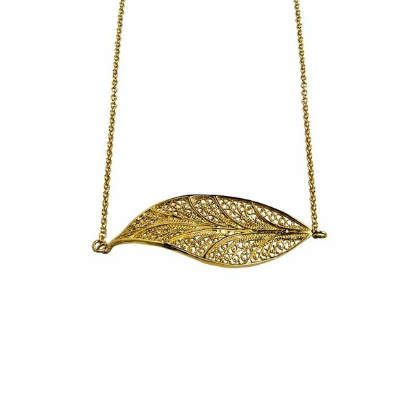 Leaf Necklace | Filigrana portuguesa | Plata 925 dorada | ZAAFYR
