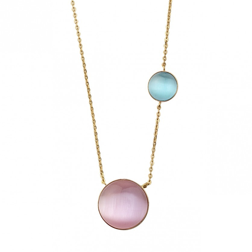 Pink&Blue Cat Eye Necklace