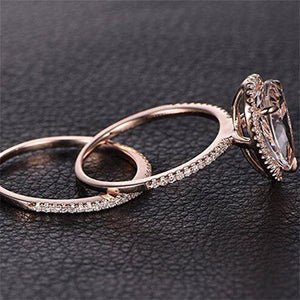 Pear Shaped Halo Rose Gold Ring - GenieMania