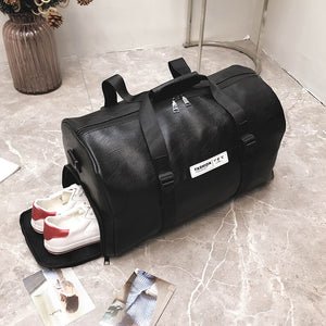 LEATHER WEEKEND TRAVEL DUFFEL BAG