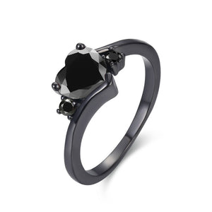 Black Gold Filled Heart Ring - GenieMania