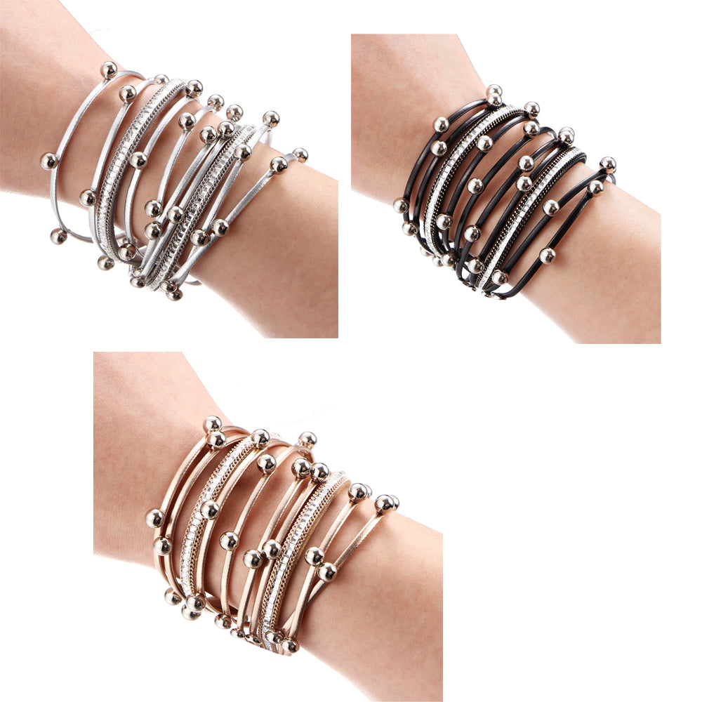 Sterling Forever Layered Leather Bracelet