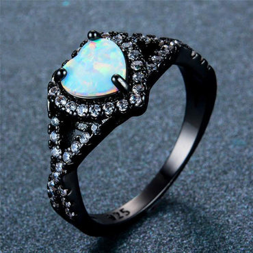 October Black Gold Filled Opal Ring