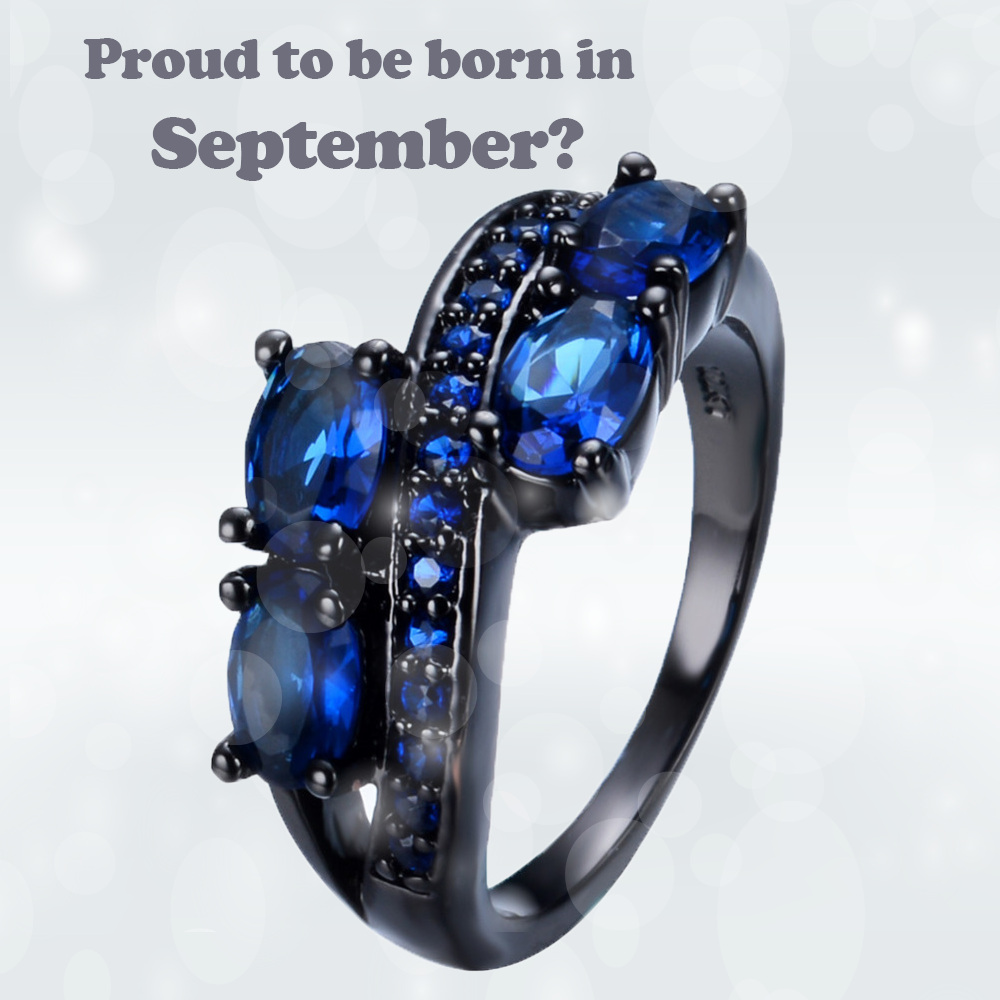 polished plated ring black gunmetal beveled fit carbide comfort september and edge tungsten tn stone band product rings blue ion diamond sapphire birthstone wedding