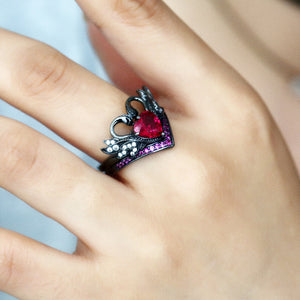 Black Swan Ruby Heart Ring - GenieMania