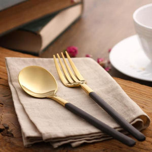 Morgan™ Gold & Black Cutlery Set