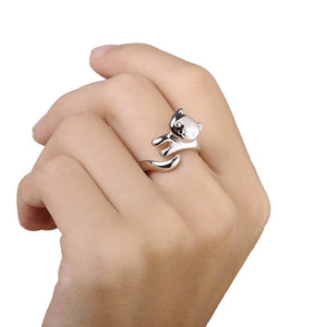 Silver Plated Cat Ring Jewelry