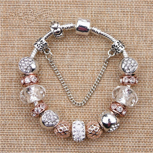 Rose Gold Heart Charm Bracelet - GenieMania
