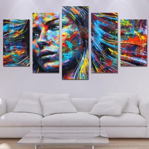 5 piece wall art woman face canvas
