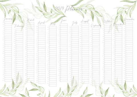 2019 A2 Botanical Wall Planner