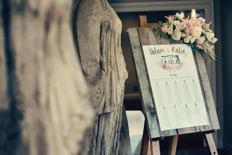 Venue illustration table plan with florals