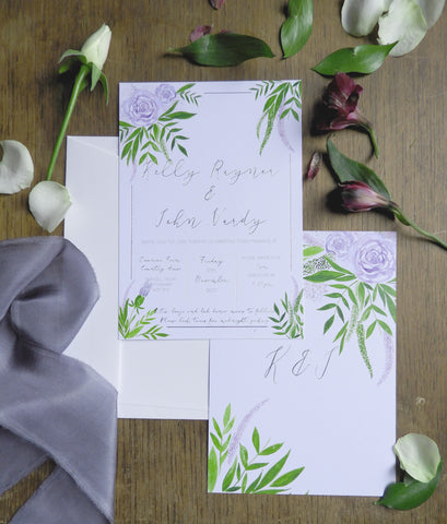 Watercolour violet floral invites