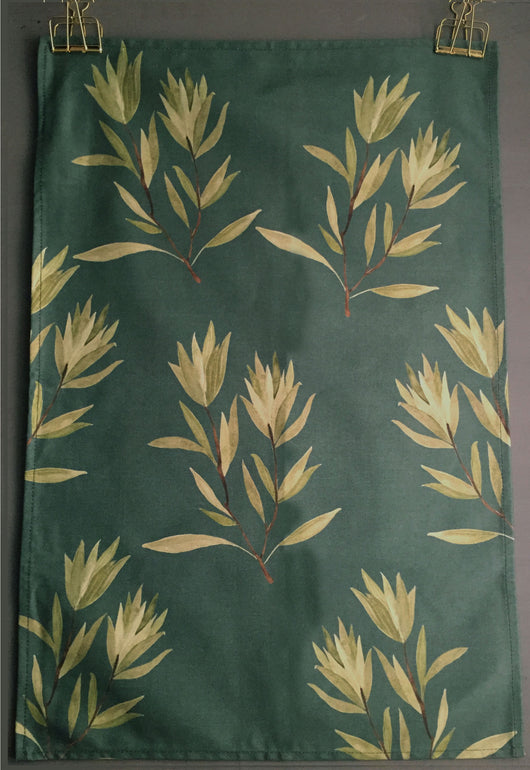 Olive Twigs Printed Tea Towel