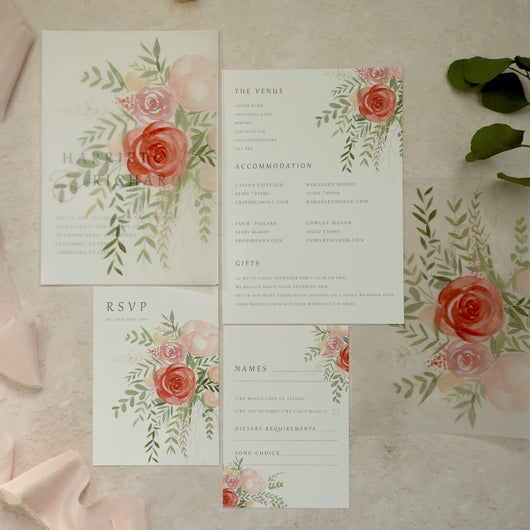 Coral Story Invitation Bundle - Invitation, Information Card, RSVP, Vellum Overlay and C5 Envelope